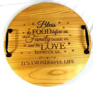 Serving Tray Bless This Food Wood Wine Barrel